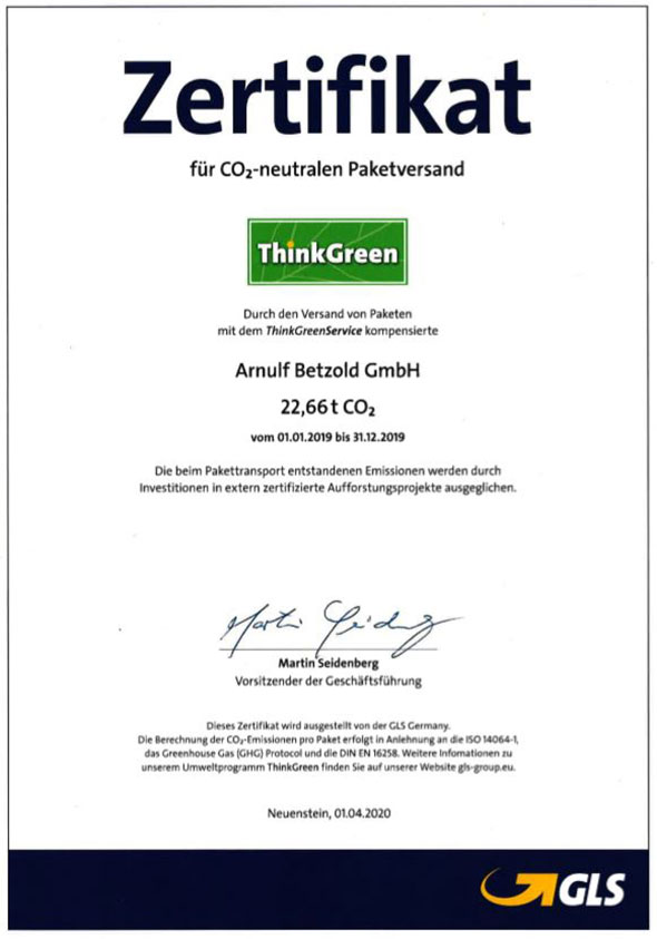 Zertifikat CO2-neutraler Paketversand